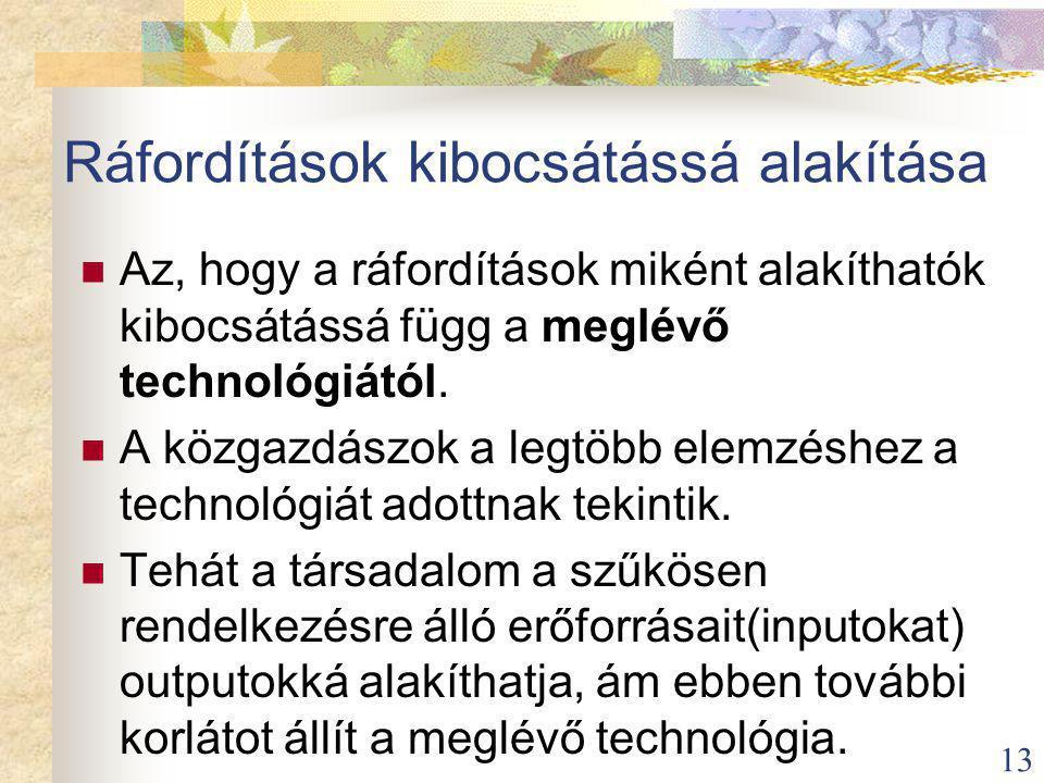 13 Ráfordítások kibocsátássá alakítása Az, hogy a ráfordítások miként alakíthatók kibocsátássá függ a meglévő technológiától.