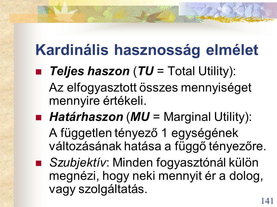 141 Kardinális hasznosság elmélet Teljes haszon (TU = Total Utility): Az elfogyasztott összes mennyiséget mennyire értékeli.