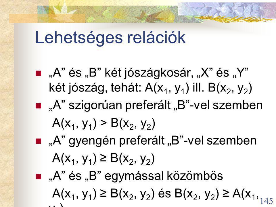 """145 Lehetséges relációk """"A és """"B két jószágkosár, """"X és """"Y két jószág, tehát: A(x 1, y 1 ) ill."""