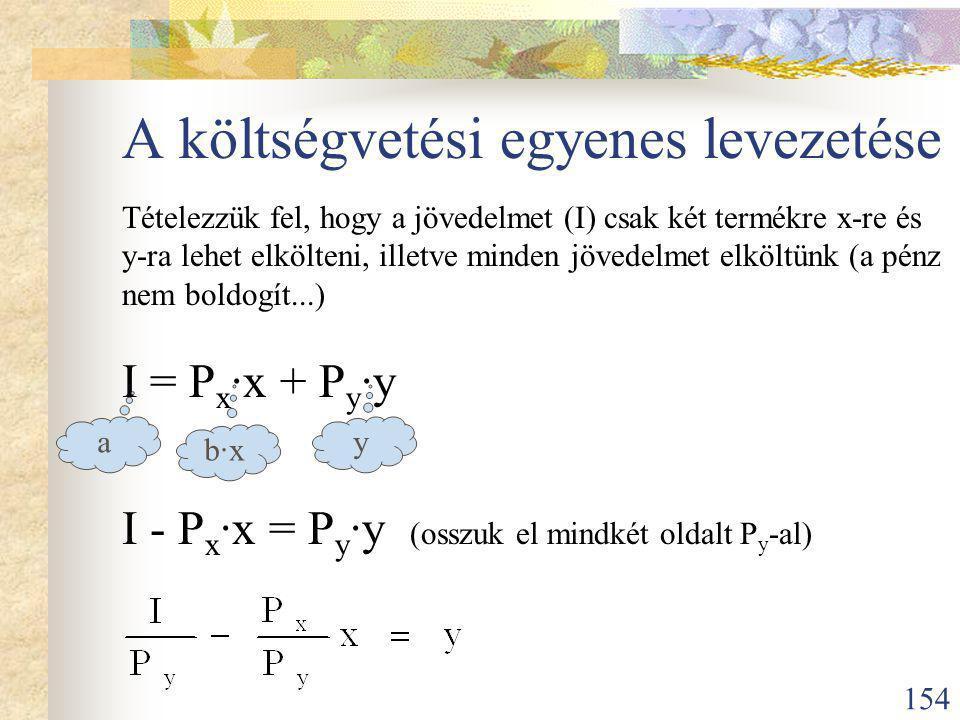 154 A költségvetési egyenes levezetése Tételezzük fel, hogy a jövedelmet (I) csak két termékre x-re és y-ra lehet elkölteni, illetve minden jövedelmet elköltünk (a pénz nem boldogít...) I = P x ·x + P y ·y I - P x ·x = P y ·y (osszuk el mindkét oldalt P y -al) a b·xb·x y