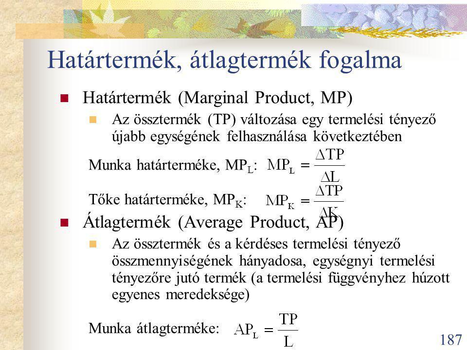 187 Határtermék, átlagtermék fogalma Határtermék (Marginal Product, MP) Az össztermék (TP) változása egy termelési tényező újabb egységének felhasználása következtében Munka határterméke, MP L : Tőke határterméke, MP K : Átlagtermék (Average Product, AP) Az össztermék és a kérdéses termelési tényező összmennyiségének hányadosa, egységnyi termelési tényezőre jutó termék (a termelési függvényhez húzott egyenes meredeksége) Munka átlagterméke: