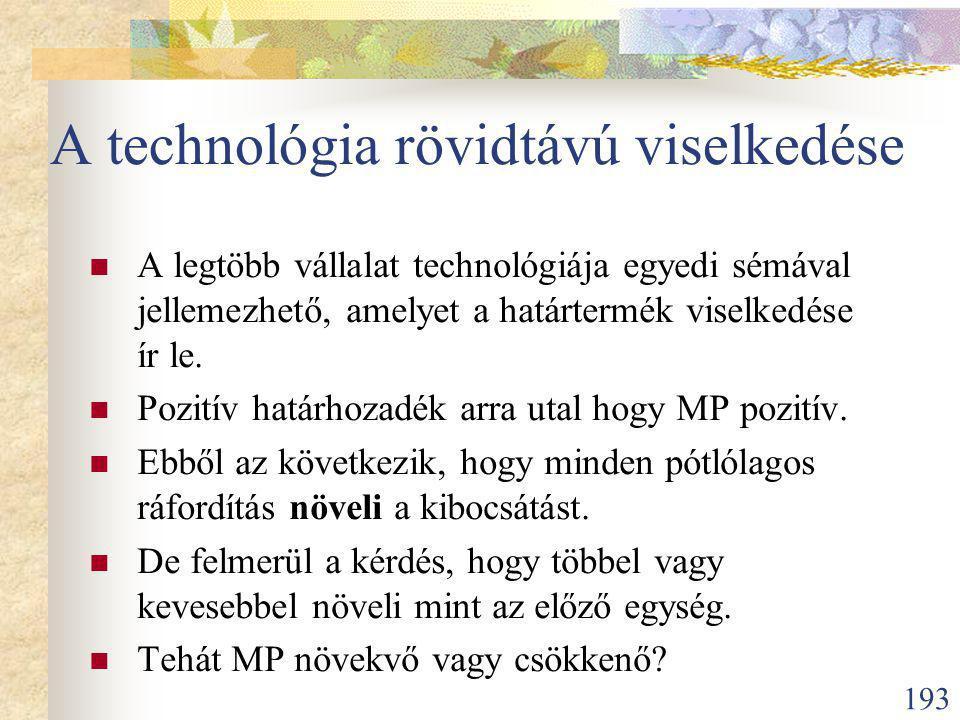 193 A technológia rövidtávú viselkedése A legtöbb vállalat technológiája egyedi sémával jellemezhető, amelyet a határtermék viselkedése ír le.