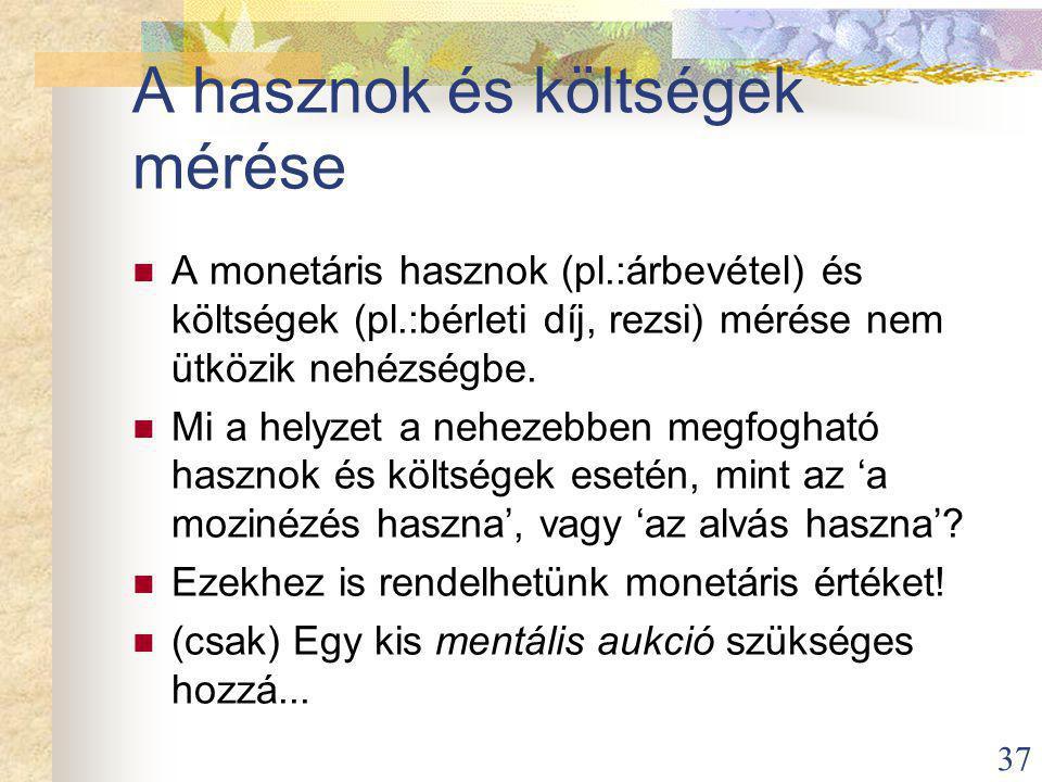 37 A hasznok és költségek mérése A monetáris hasznok (pl.:árbevétel) és költségek (pl.:bérleti díj, rezsi) mérése nem ütközik nehézségbe.