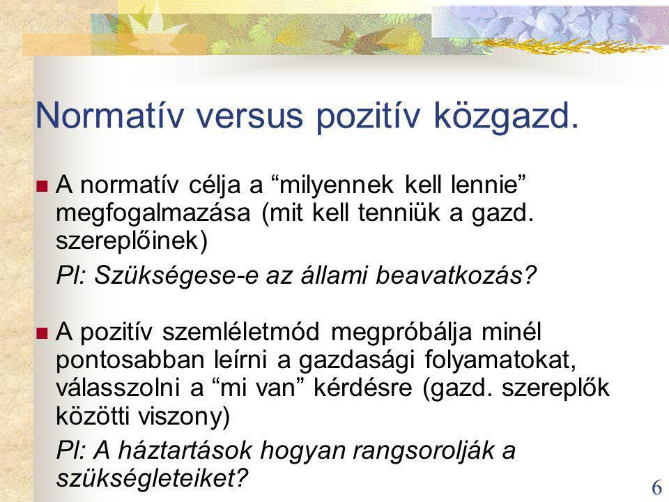 6 Normatív versus pozitív közgazd.