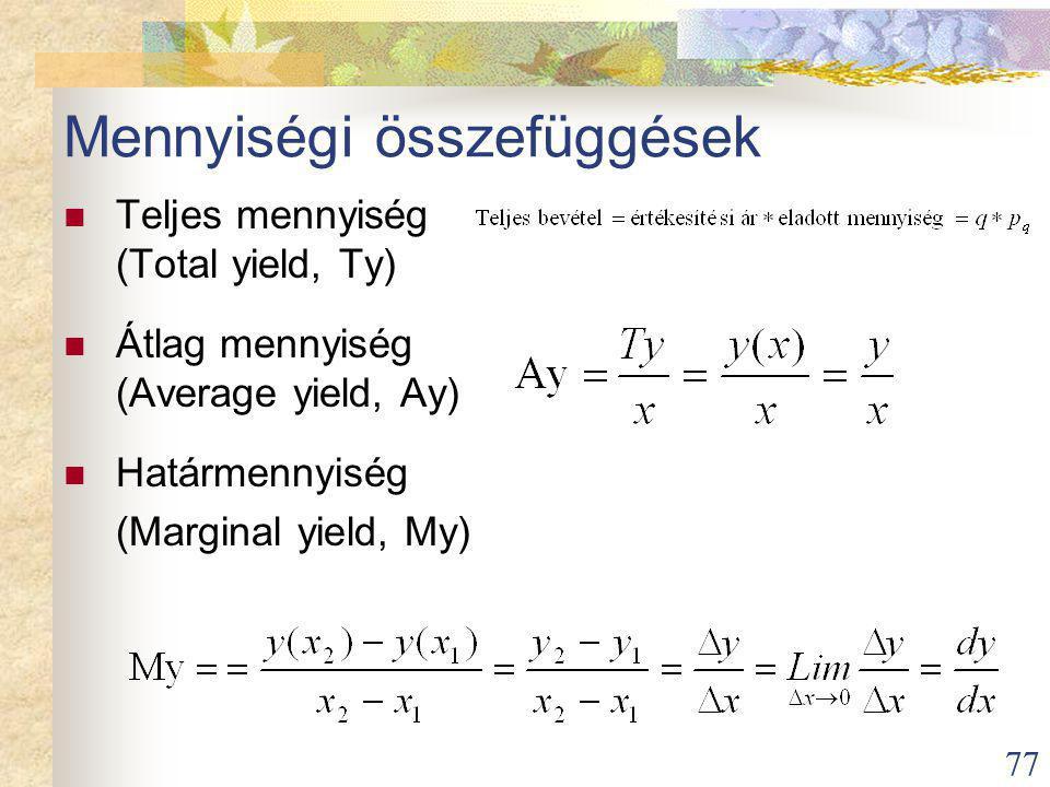 77 Mennyiségi összefüggések Teljes mennyiség (Total yield, Ty) Átlag mennyiség (Average yield, Ay) Határmennyiség (Marginal yield, My)