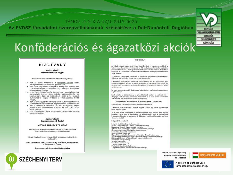 Konföderációs és ágazatközi akciók 13 TÁMOP -2-5-3-A-13/1-2013-0025 Az EVDSZ társadalmi szerepvállalásának szélesítése a Dél-Dunántúli Régióban