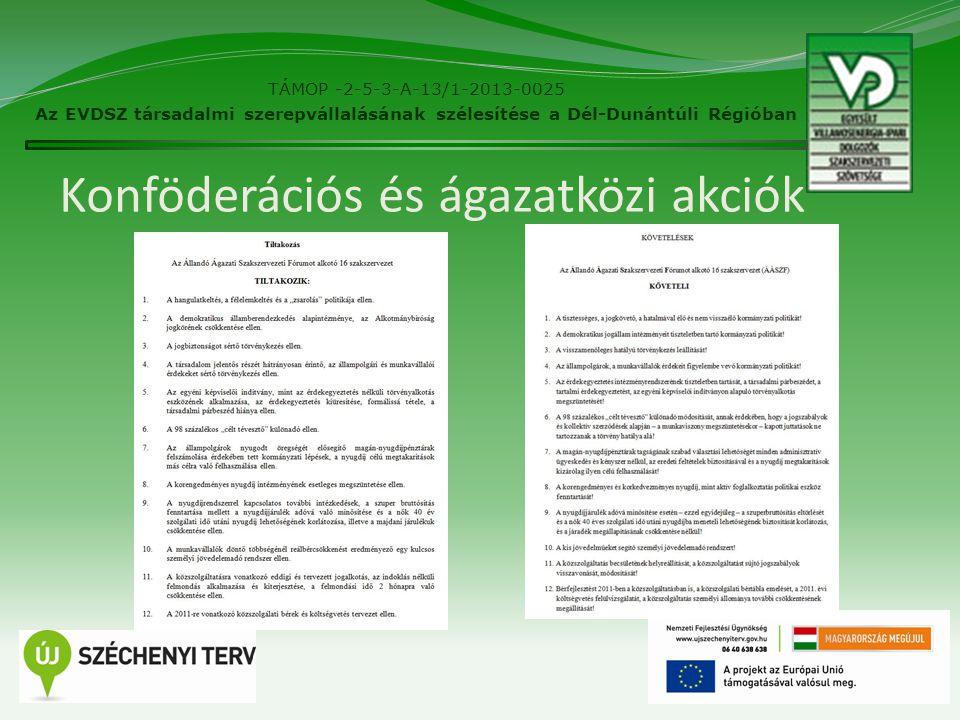 Konföderációs és ágazatközi akciók 14 TÁMOP -2-5-3-A-13/1-2013-0025 Az EVDSZ társadalmi szerepvállalásának szélesítése a Dél-Dunántúli Régióban