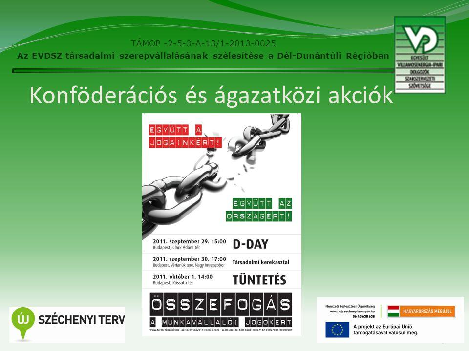Konföderációs és ágazatközi akciók 15 TÁMOP -2-5-3-A-13/1-2013-0025 Az EVDSZ társadalmi szerepvállalásának szélesítése a Dél-Dunántúli Régióban
