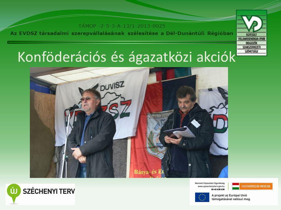 Konföderációs és ágazatközi akciók 16 TÁMOP -2-5-3-A-13/1-2013-0025 Az EVDSZ társadalmi szerepvállalásának szélesítése a Dél-Dunántúli Régióban