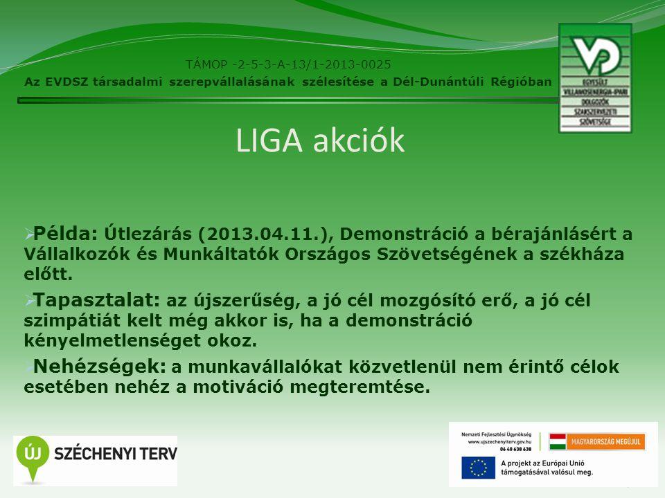 LIGA akciók  Példa: Útlezárás (2013.04.11.), Demonstráció a bérajánlásért a Vállalkozók és Munkáltatók Országos Szövetségének a székháza előtt.