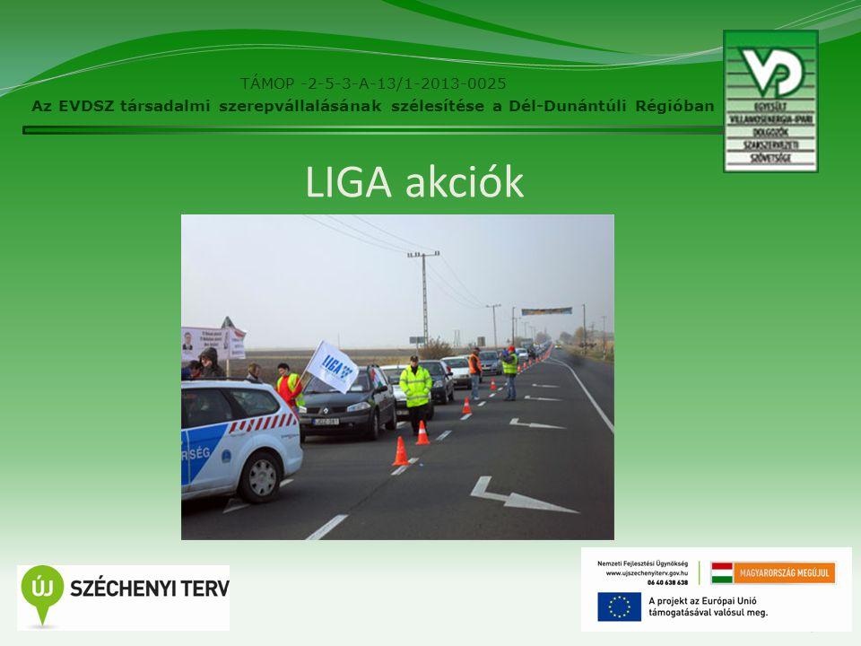 LIGA akciók 19 TÁMOP -2-5-3-A-13/1-2013-0025 Az EVDSZ társadalmi szerepvállalásának szélesítése a Dél-Dunántúli Régióban