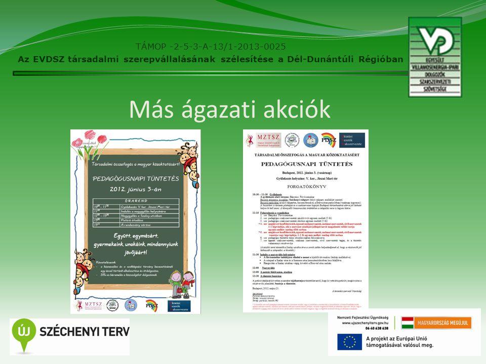 21 Más ágazati akciók TÁMOP -2-5-3-A-13/1-2013-0025 Az EVDSZ társadalmi szerepvállalásának szélesítése a Dél-Dunántúli Régióban