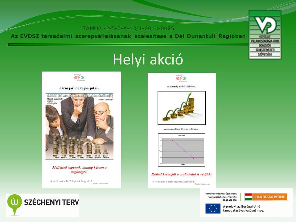 25 Helyi akció TÁMOP -2-5-3-A-13/1-2013-0025 Az EVDSZ társadalmi szerepvállalásának szélesítése a Dél-Dunántúli Régióban