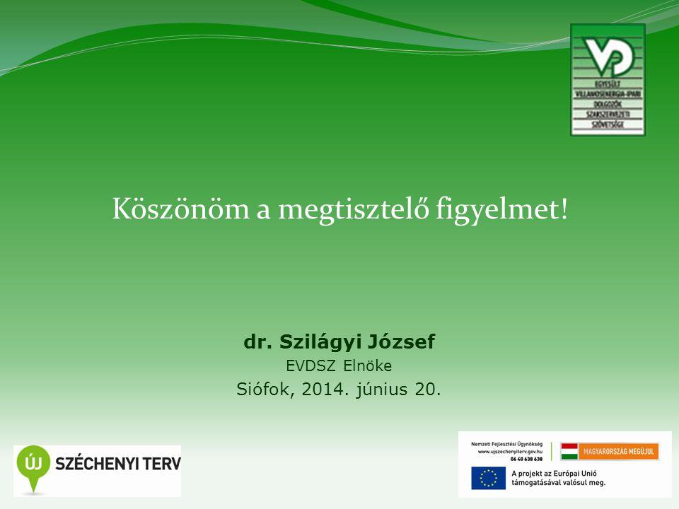 28 Köszönöm a megtisztelő figyelmet! dr. Szilágyi József EVDSZ Elnöke Siófok, 2014. június 20.