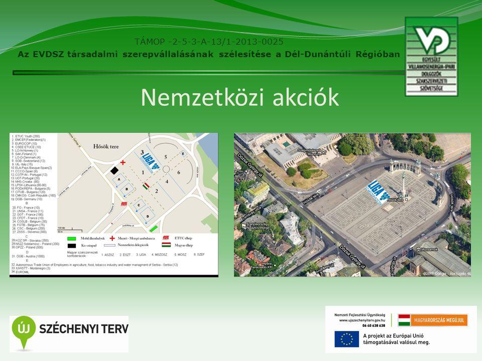 Nemzetközi akciók 6 TÁMOP -2-5-3-A-13/1-2013-0025 Az EVDSZ társadalmi szerepvállalásának szélesítése a Dél-Dunántúli Régióban