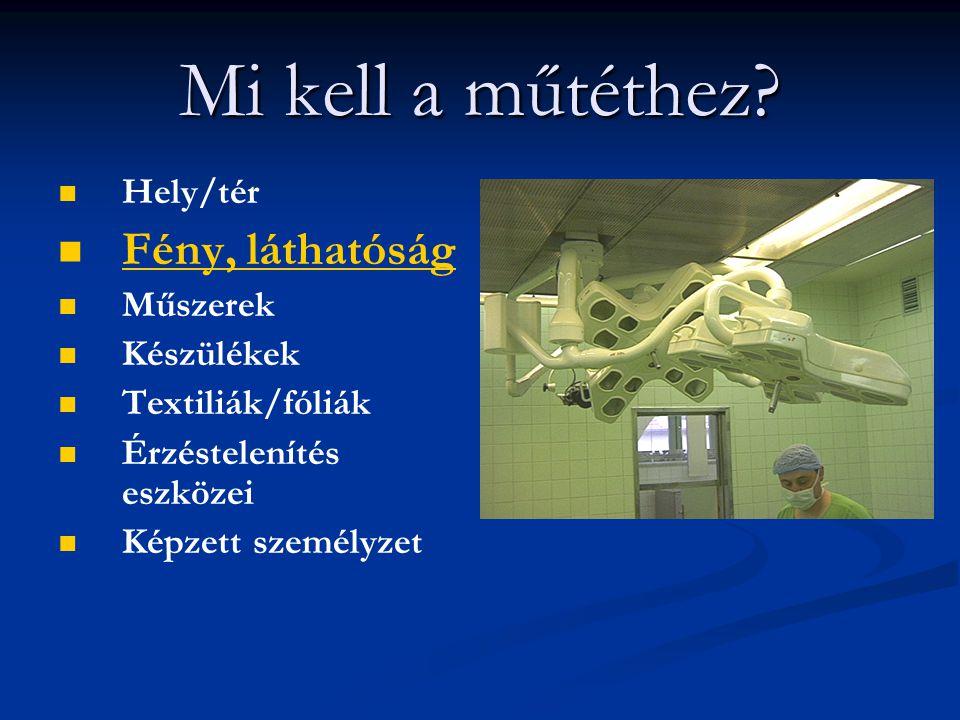 Mi kell a műtéthez? Hely/tér Fény, láthatóság Műszerek Készülékek Textiliák/fóliák Érzéstelenítés eszközei Képzett személyzet