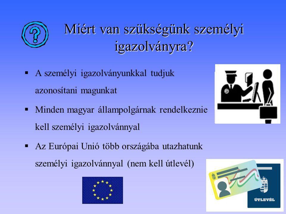 Miért van szükségünk személyi igazolványra?  A személyi igazolványunkkal tudjuk azonosítani magunkat  Minden magyar állampolgárnak rendelkeznie kell