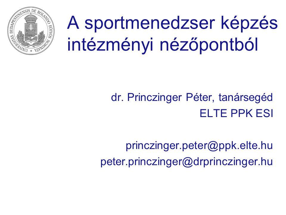 A sportmenedzser képzés intézményi nézőpontból dr. Princzinger Péter, tanársegéd ELTE PPK ESI princzinger.peter@ppk.elte.hu peter.princzinger@drprincz
