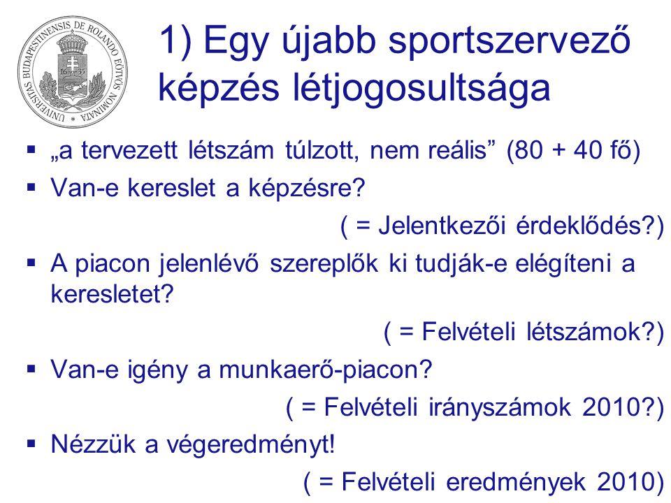 """1) Egy újabb sportszervező képzés létjogosultsága  """"a tervezett létszám túlzott, nem reális (80 + 40 fő)  Van-e kereslet a képzésre."""