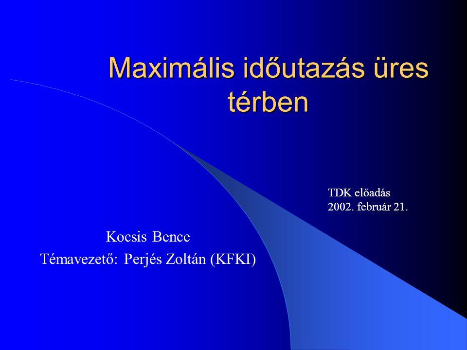 A legalapvetőbb feladat Üres tér, Minkowski téridő Rögzített végpontú világvonalak Ívhosszak összehasonlítása Bonyolítás: egyszerű kényszerek bevezetése A legkisebb időderiváltak korlátozása –Nulladik és első derivált: fázistér korlátozása –Második derivált: maximális görbület korlátozása
