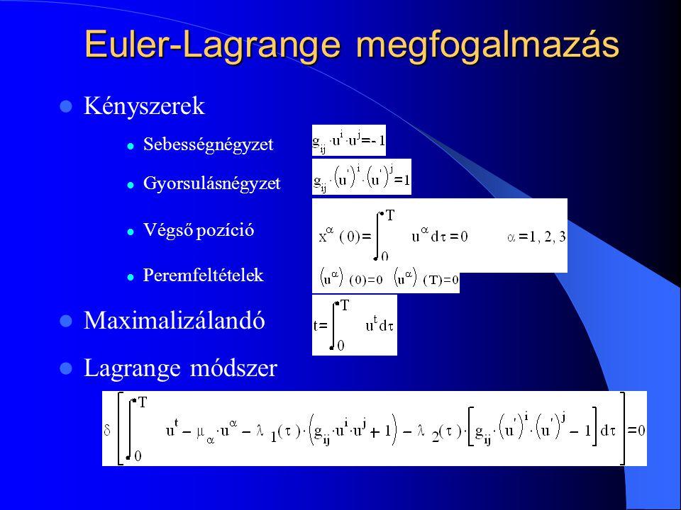 Euler-Lagrange megfogalmazás Kényszerek Sebességnégyzet Gyorsulásnégyzet Végső pozíció Peremfeltételek Maximalizálandó Lagrange módszer