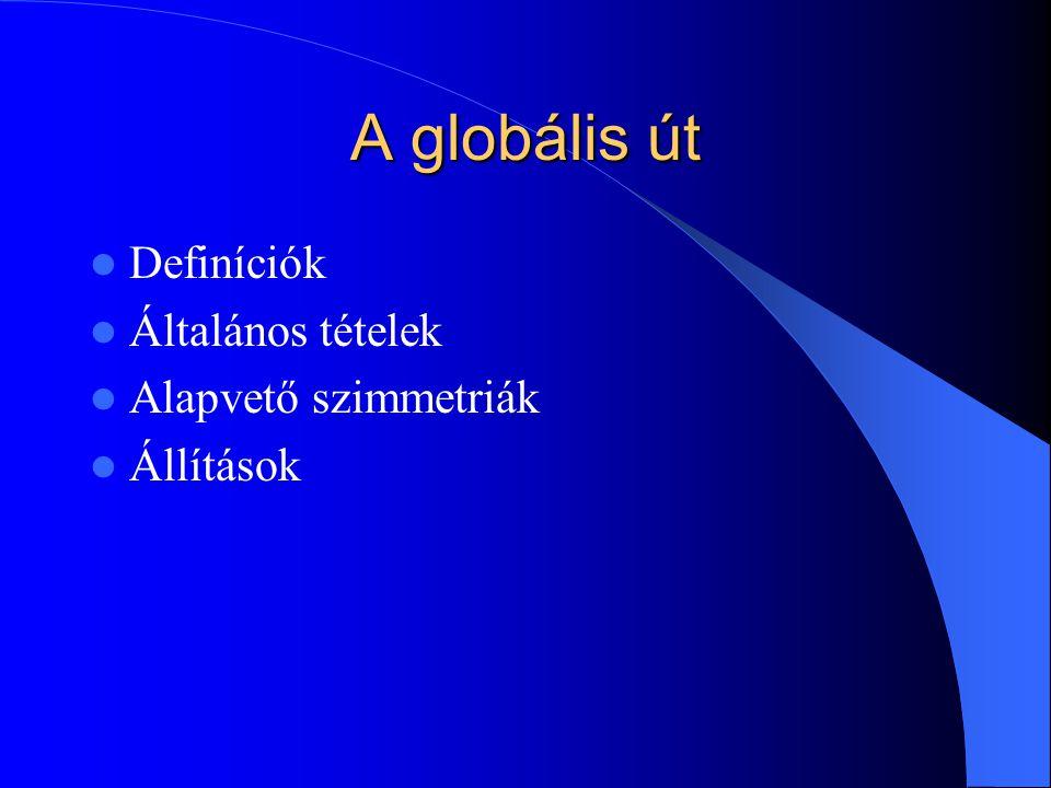 A globális út Definíciók Általános tételek Alapvető szimmetriák Állítások