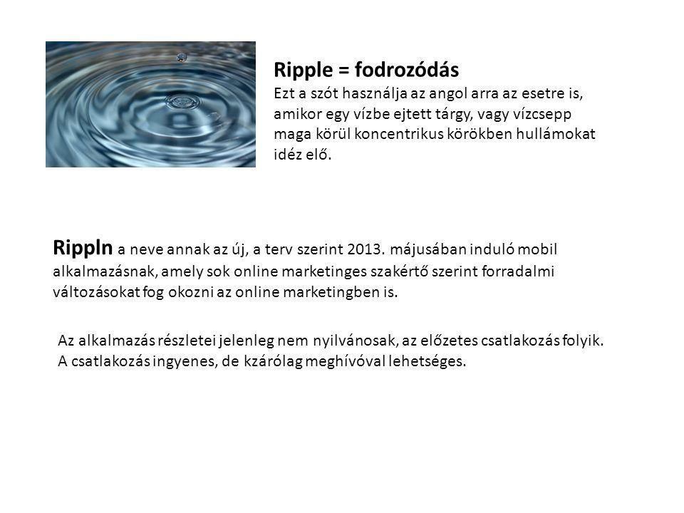 Ripple = fodrozódás Ezt a szót használja az angol arra az esetre is, amikor egy vízbe ejtett tárgy, vagy vízcsepp maga körül koncentrikus körökben hullámokat idéz elő.