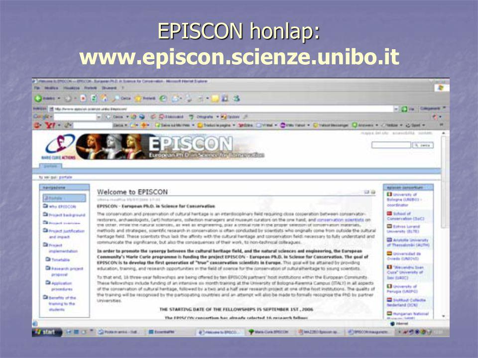 EPISCON honlap: EPISCON honlap: www.episcon.scienze.unibo.it