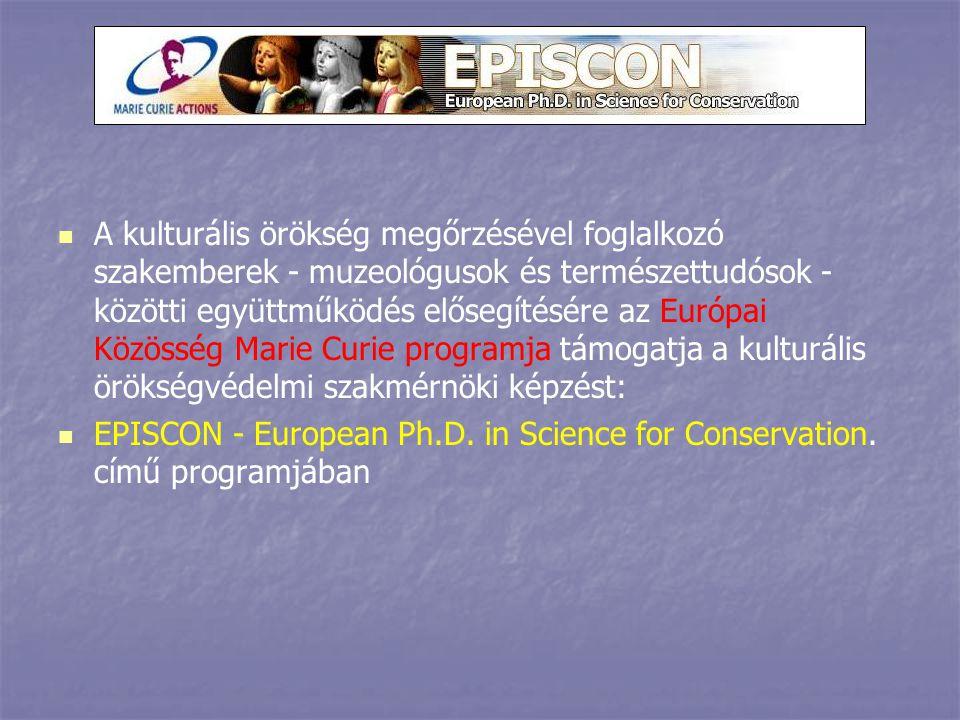 A kulturális örökség megőrzésével foglalkozó szakemberek - muzeológusok és természettudósok - közötti együttműködés elősegítésére az Európai Közösség Marie Curie programja támogatja a kulturális örökségvédelmi szakmérnöki képzést: EPISCON - European Ph.D.