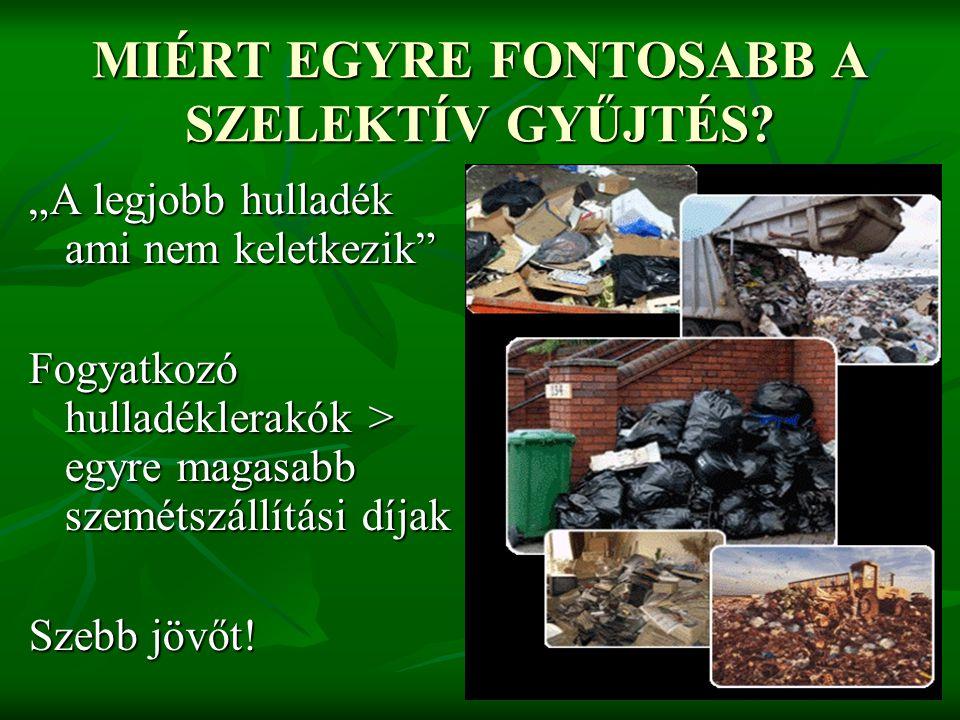 """MIÉRT EGYRE FONTOSABB A SZELEKTÍV GYŰJTÉS? """"A legjobb hulladék ami nem keletkezik"""" Fogyatkozó hulladéklerakók > egyre magasabb szemétszállítási díjak"""