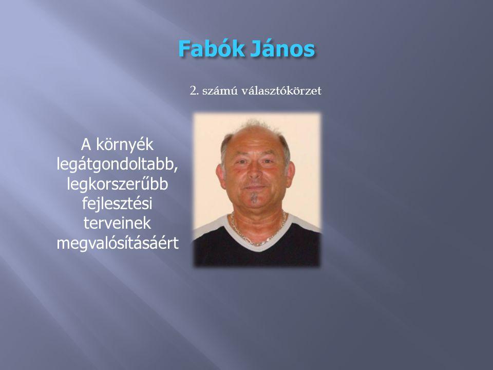 Fabók János A környék legátgondoltabb, legkorszerűbb fejlesztési terveinek megvalósításáért 2.