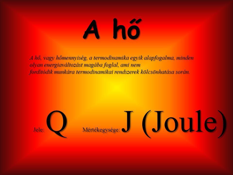 A hő tulajdonságai - Egyik testről a másikra átadódhat, a termodinamika második főtétele szerint.