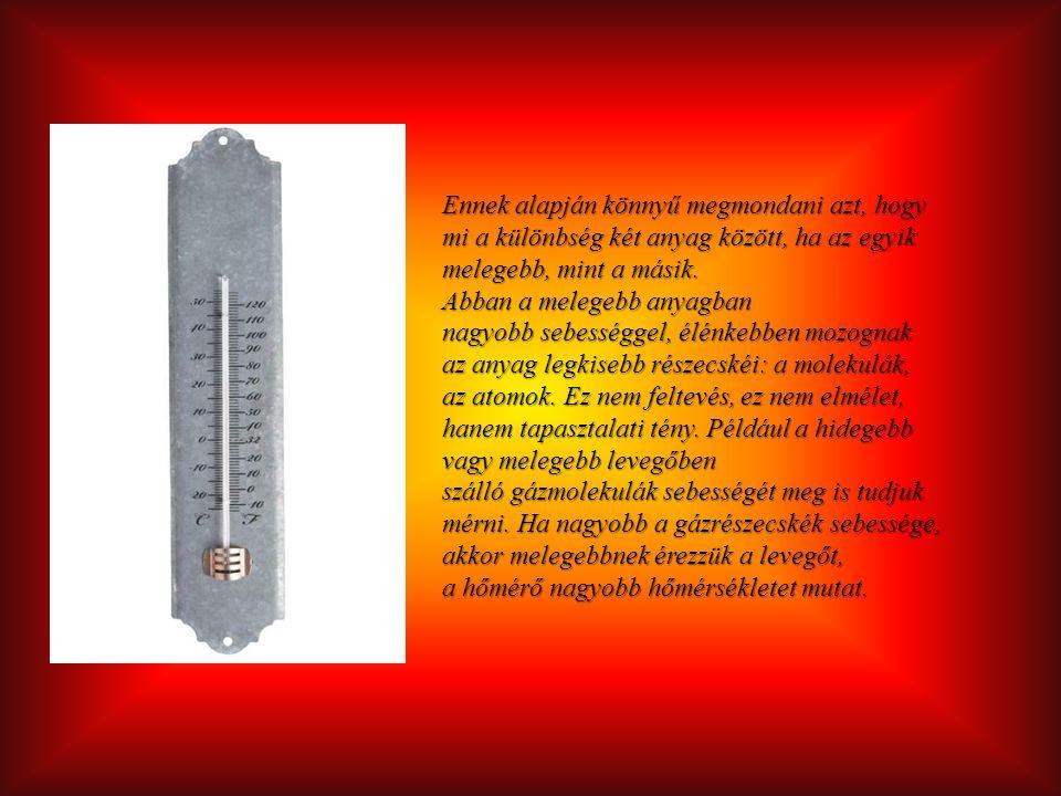 Ennek alapján könnyű megmondani azt, hogy mi a különbség két anyag között, ha az egyik melegebb, mint a másik. Abban a melegebb anyagban nagyobb sebes