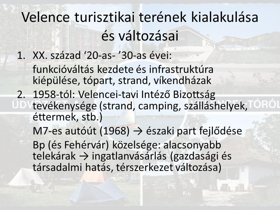 Velence turisztikai terének kialakulása és változásai 1.XX. század '20-as- '30-as évei: funkcióváltás kezdete és infrastruktúra kiépülése, tópart, str