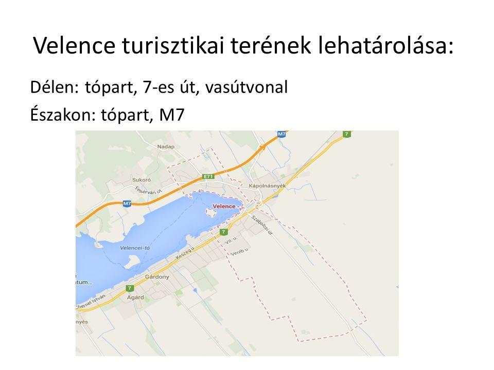 Velence turisztikai terének lehatárolása: Délen: tópart, 7-es út, vasútvonal Északon: tópart, M7