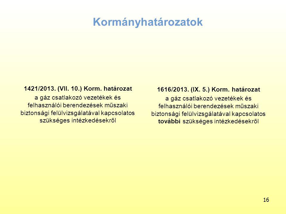1421/2013. (VII. 10.) Korm. határozat a gáz csatlakozó vezetékek és felhasználói berendezések műszaki biztonsági felülvizsgálatával kapcsolatos szüksé