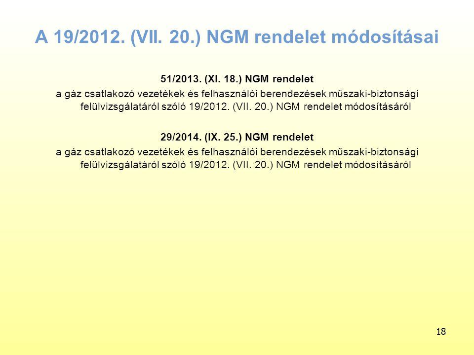 18 A 19/2012. (VII. 20.) NGM rendelet módosításai 51/2013. (XI. 18.) NGM rendelet a gáz csatlakozó vezetékek és felhasználói berendezések műszaki-bizt