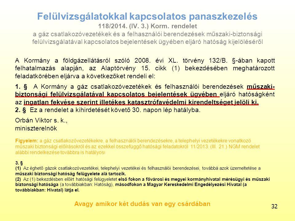 Felülvizsgálatokkal kapcsolatos panaszkezelés 118/2014. (IV. 3.) Korm. rendelet a gáz csatlakozóvezetékek és a felhasználói berendezések műszaki-bizto