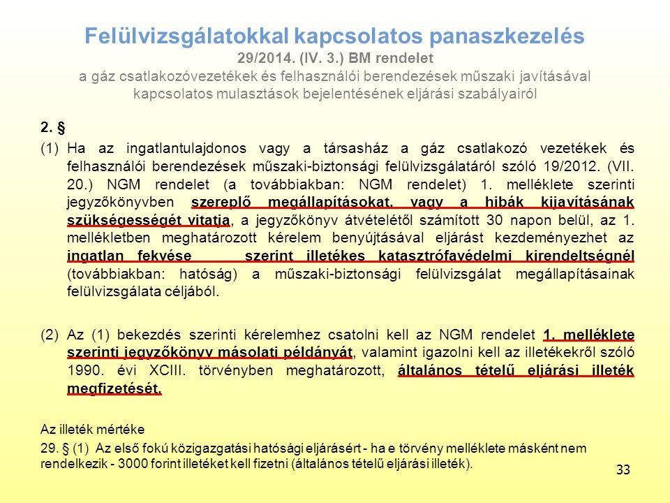 Felülvizsgálatokkal kapcsolatos panaszkezelés 29/2014. (IV. 3.) BM rendelet a gáz csatlakozóvezetékek és felhasználói berendezések műszaki javításával