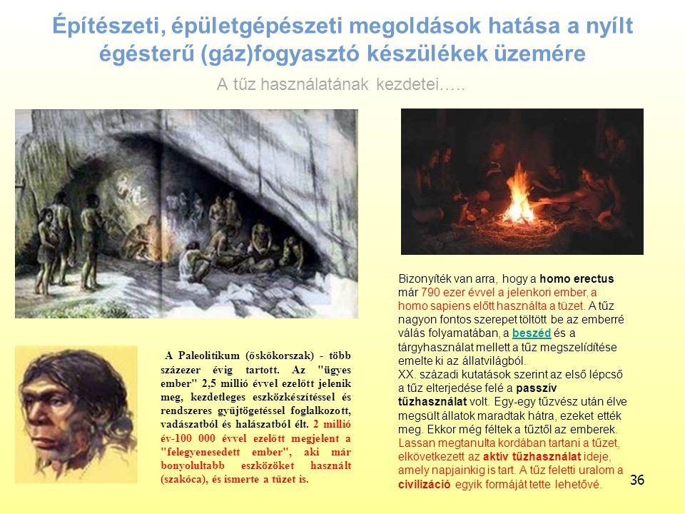 Építészeti, épületgépészeti megoldások hatása a nyílt égésterű (gáz)fogyasztó készülékek üzemére 36 A Paleolitikum (őskőkorszak) - több százezer évig