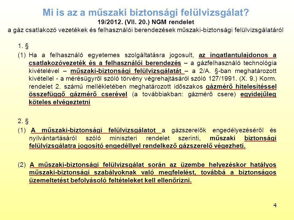 Mi is az a műszaki biztonsági felülvizsgálat? 19/2012. (VII. 20.) NGM rendelet a gáz csatlakozó vezetékek és felhasználói berendezések műszaki-biztons