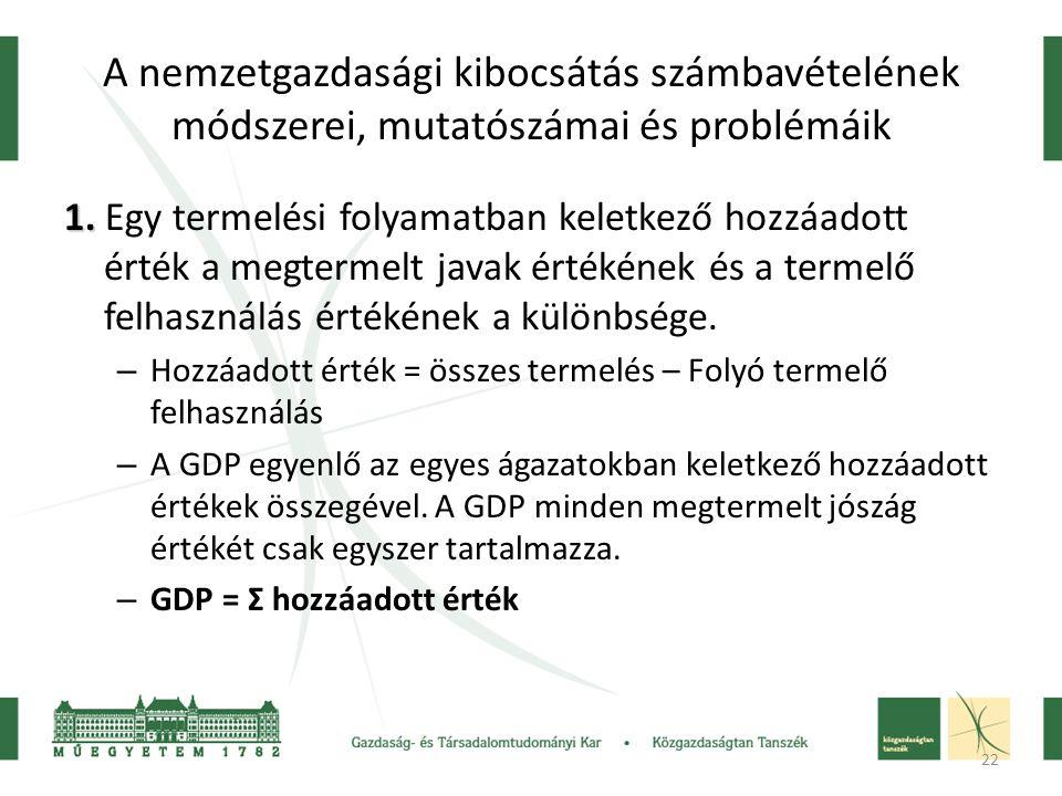 22 A nemzetgazdasági kibocsátás számbavételének módszerei, mutatószámai és problémáik 1.
