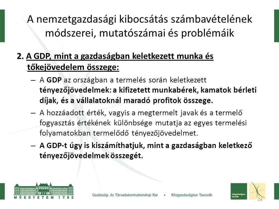 24 A nemzetgazdasági kibocsátás számbavételének módszerei, mutatószámai és problémáik 2.