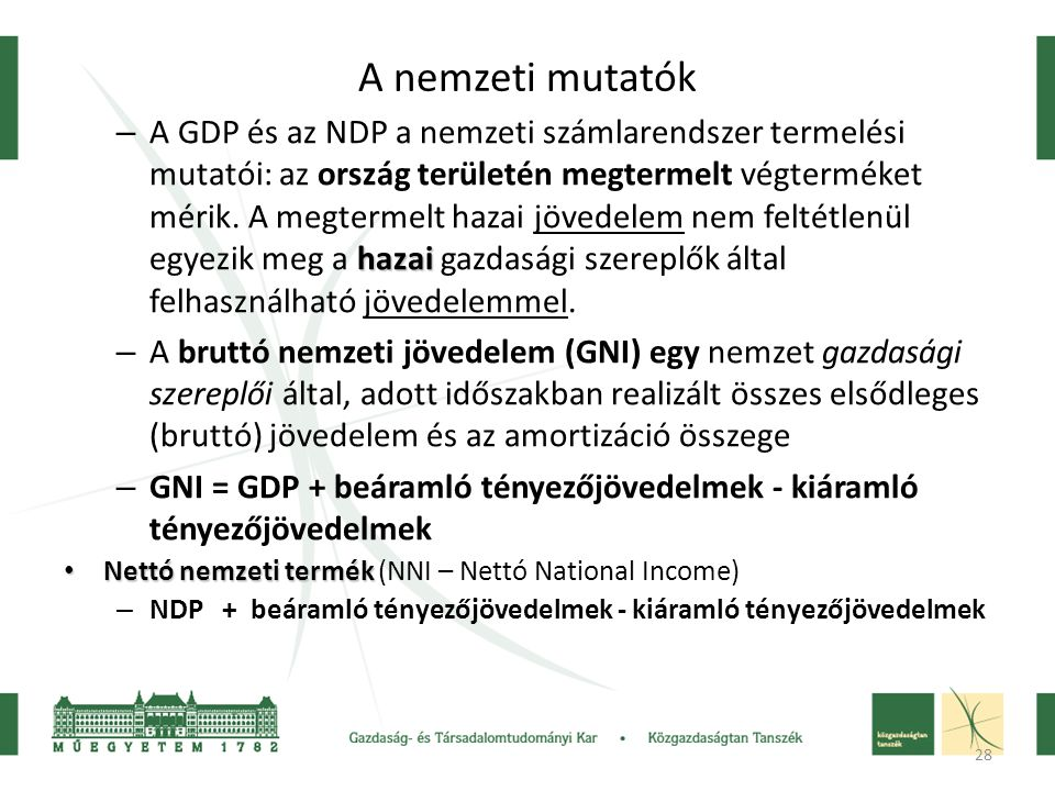 28 A nemzeti mutatók hazai – A GDP és az NDP a nemzeti számlarendszer termelési mutatói: az ország területén megtermelt végterméket mérik.