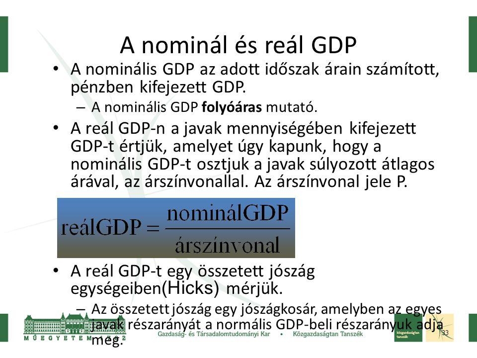 33 A nominális GDP az adott időszak árain számított, pénzben kifejezett GDP.