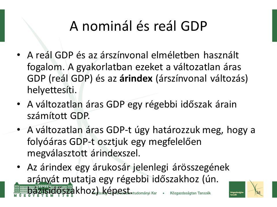 34 A nominál és reál GDP A reál GDP és az árszínvonal elméletben használt fogalom.
