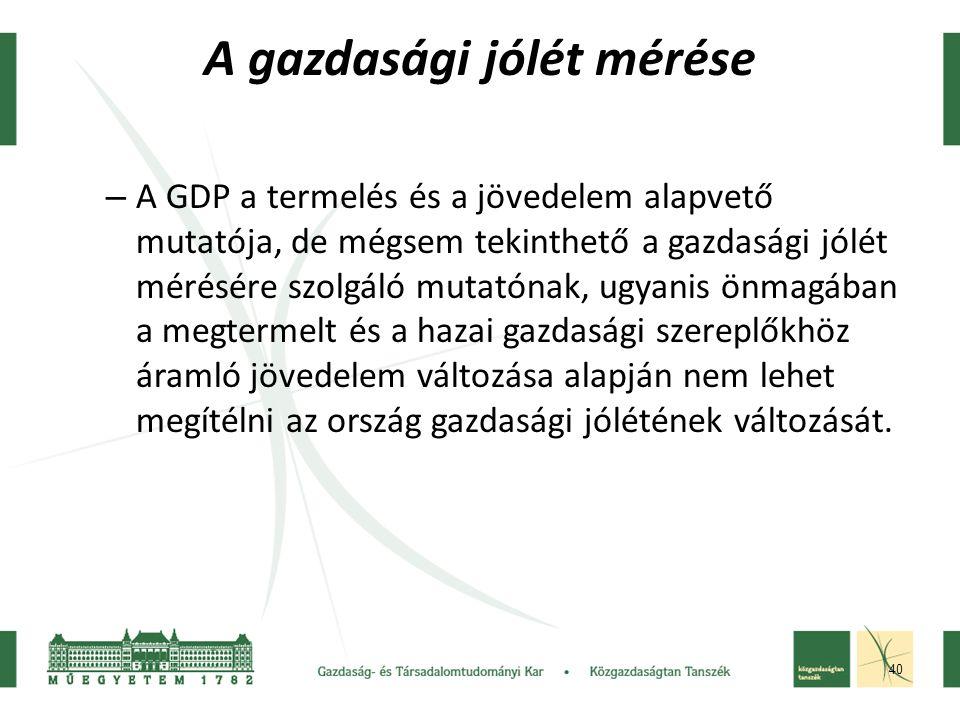 40 A gazdasági jólét mérése – A GDP a termelés és a jövedelem alapvető mutatója, de mégsem tekinthető a gazdasági jólét mérésére szolgáló mutatónak, ugyanis önmagában a megtermelt és a hazai gazdasági szereplőkhöz áramló jövedelem változása alapján nem lehet megítélni az ország gazdasági jólétének változását.