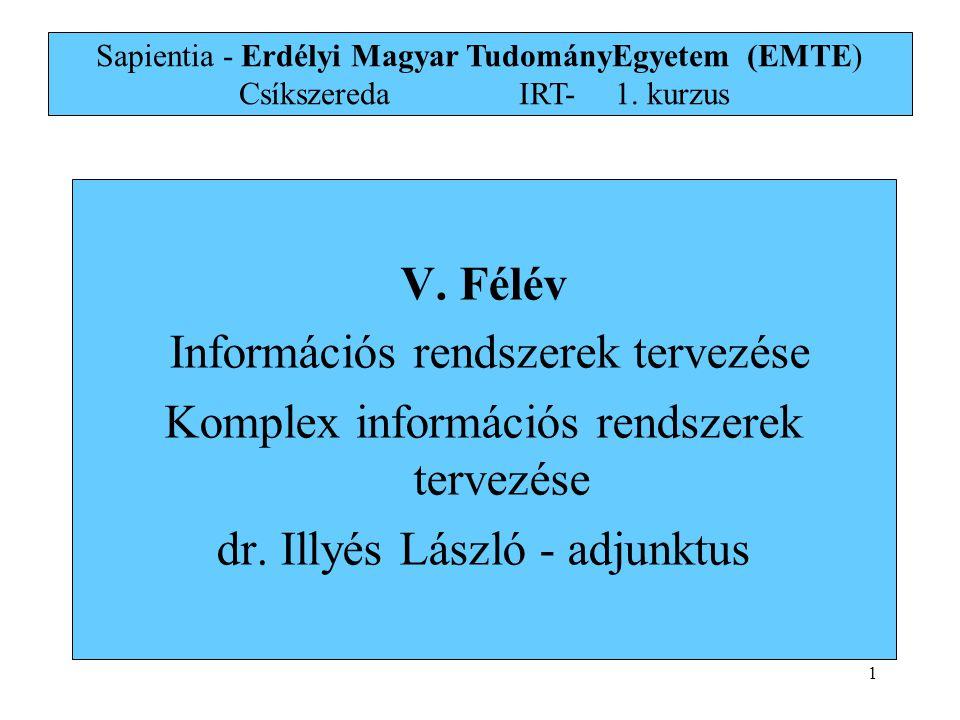 V. Félév Információs rendszerek tervezése Komplex információs rendszerek tervezése dr. Illyés László - adjunktus Sapientia - Erdélyi Magyar TudományEg