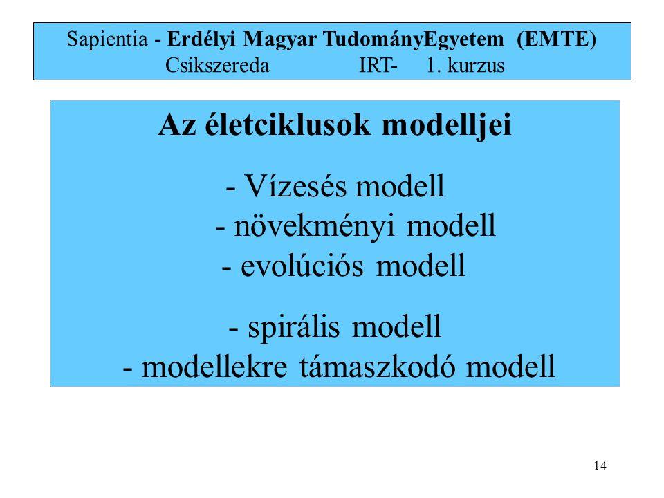 Az életciklusok modelljei - Vízesés modell - növekményi modell - evolúciós modell - spirális modell - modellekre támaszkodó modell Sapientia - Erdélyi