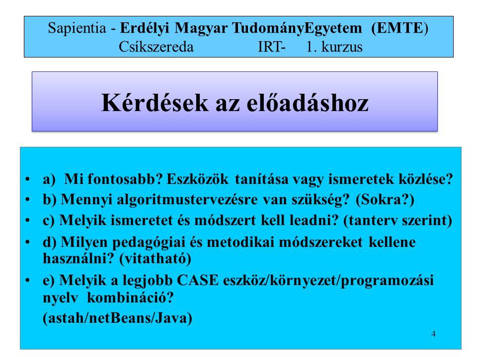 Sapientia - Erdélyi Magyar TudományEgyetem (EMTE) Csíkszereda IRT-1.